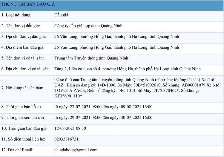 Ngày 12/8/2021, đấu giá 2 xe ô tô tại tỉnh Quảng Ninh ảnh 1