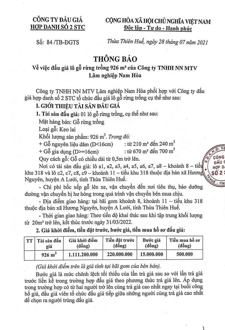 Ngày 12/8/2021, đấu giá lô gỗ rừng tại tỉnh Thừa Thiên Huế ảnh 2