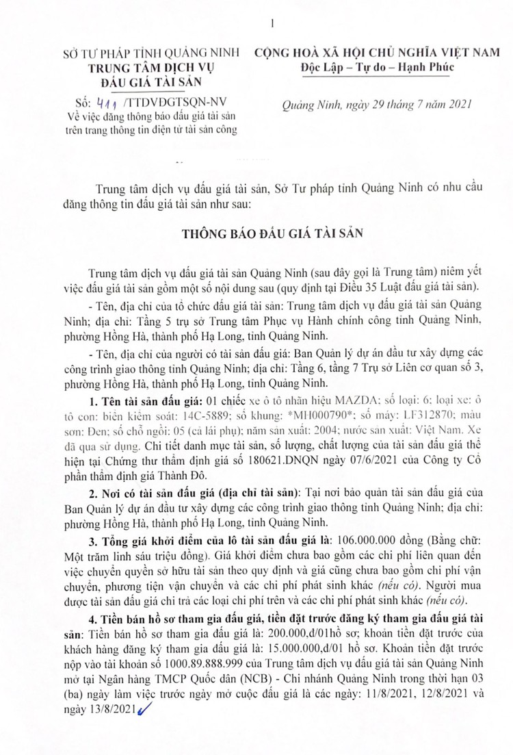 Ngày 16/8/2021, đấu giá xe ô tô MAZDA tại tỉnh Quảng Ninh ảnh 2