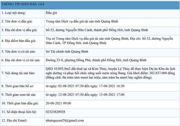 Ngày 20/8/2021, đấu giá quyền sử dụng 10.893,9m2 đất thuê tại huyện Lệ Thủy, tỉnh Quảng Bình ảnh 1