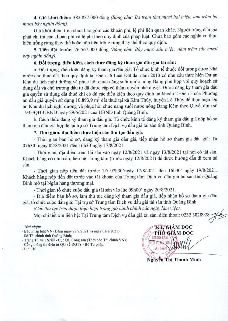 Ngày 20/8/2021, đấu giá quyền sử dụng 10.893,9m2 đất thuê tại huyện Lệ Thủy, tỉnh Quảng Bình ảnh 3