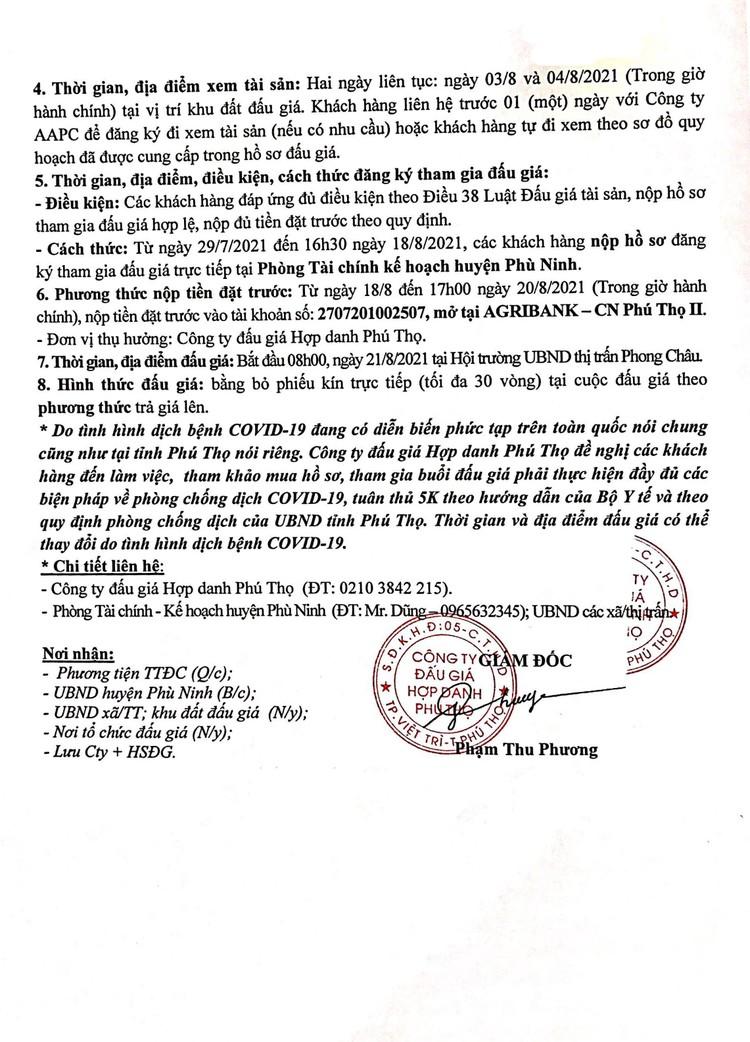 Ngày 21/8/2021, đấu giá quyền sử dụng 18 lô đất tại huyện Phù Ninh, tỉnh Phú Thọ ảnh 3