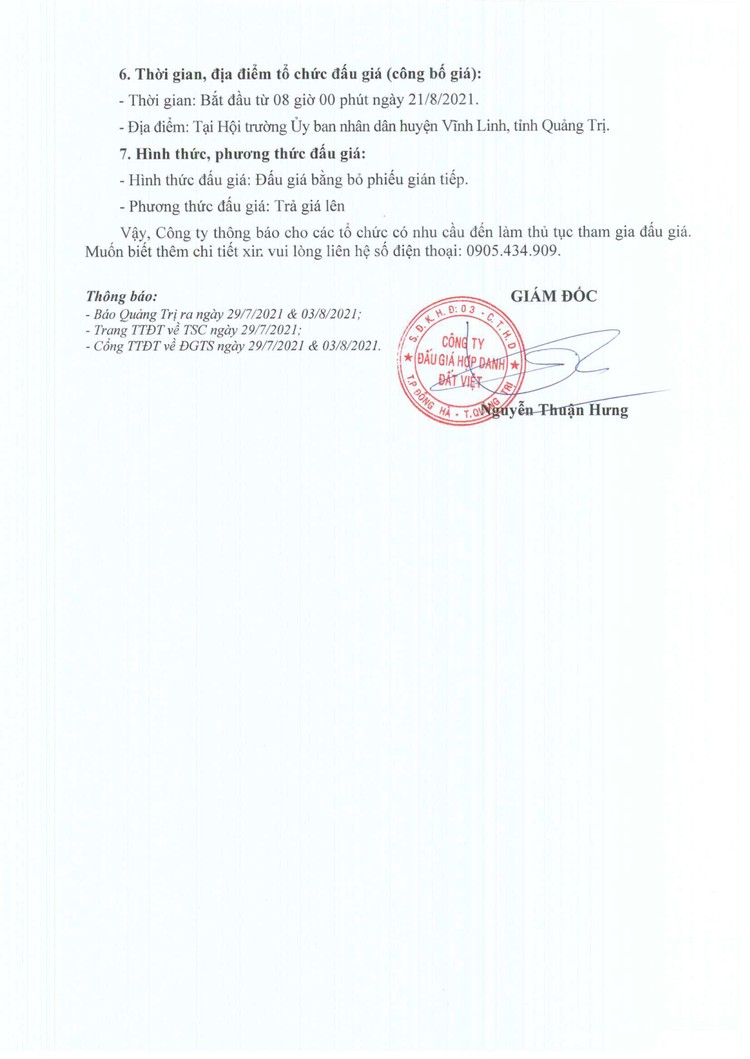 Ngày 21/8/2021, đấu giá quyền sử dụng đất tại huyện Vĩnh Linh, tỉnh Quảng Trị ảnh 3