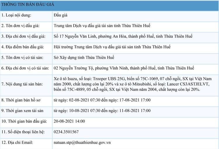 Ngày 20/8/2021, đấu giá 2 xe ô tô tại tỉnh Thừa Thiên Huế ảnh 1
