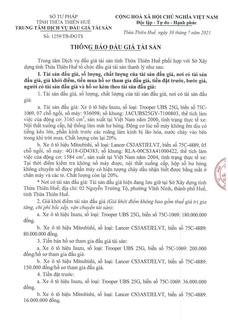 Ngày 20/8/2021, đấu giá 2 xe ô tô tại tỉnh Thừa Thiên Huế ảnh 2