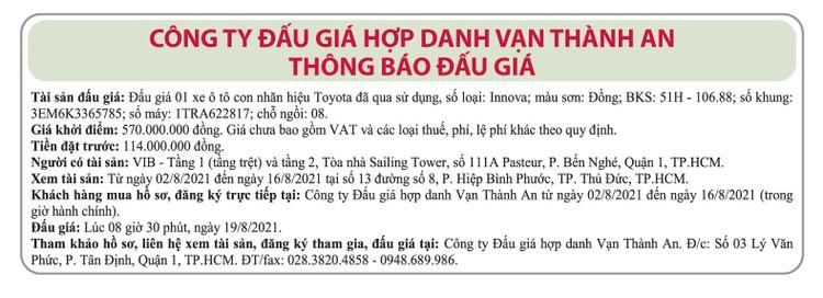 Ngày 19/8/2021, đấu giá xe ô tô Toyota tại TP.HCM ảnh 1