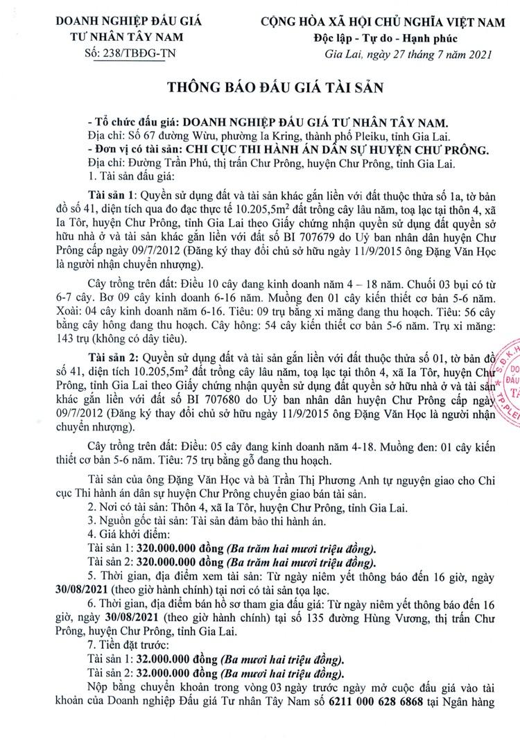 Ngày 3/9/2021, đấu giá quyền sử dụng 2 thửa đất tại huyện Chư Prông, tỉnh Gia Lai ảnh 2