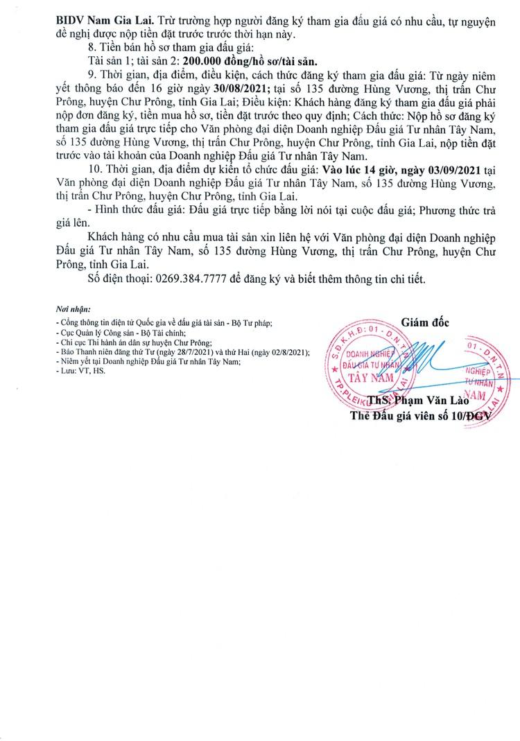 Ngày 3/9/2021, đấu giá quyền sử dụng 2 thửa đất tại huyện Chư Prông, tỉnh Gia Lai ảnh 3