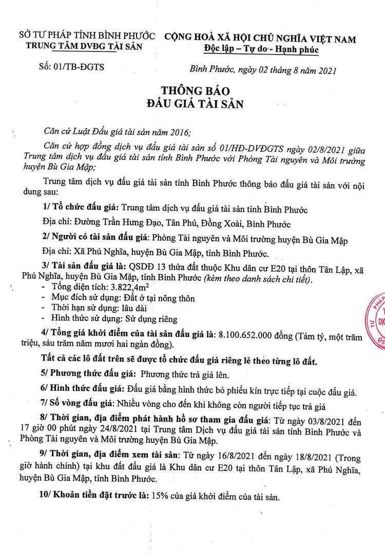 Ngày 27/8/2021, đấu giá quyền sử dung 13 thửa đất tại huyện Bù Gia Mập, tỉnh Bình Phước ảnh 2