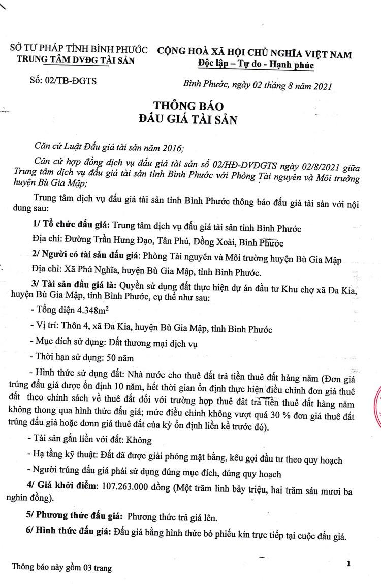 Ngày 30/8/2021, đấu giá quyền sử dung đất tại huyện Bù Gia Mập, tỉnh Bình Phước ảnh 2