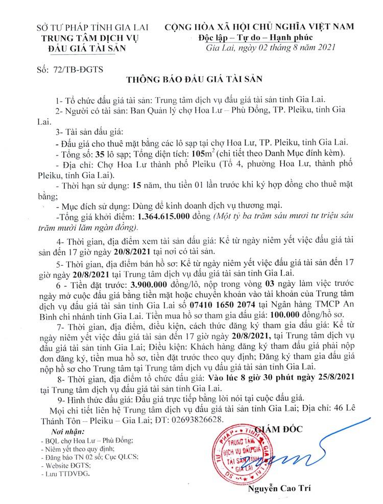 Ngày 25/8/2021, đấu giá cho thuê mặt bằng tại chợ Hoa Lư, tỉnh Gia Lai ảnh 2