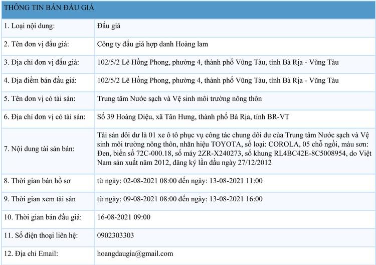 Ngày 16/8/2021, đấu giá xe ô tô TOYOTA tại tỉnh Bà Rịa - Vũng Tàu ảnh 1