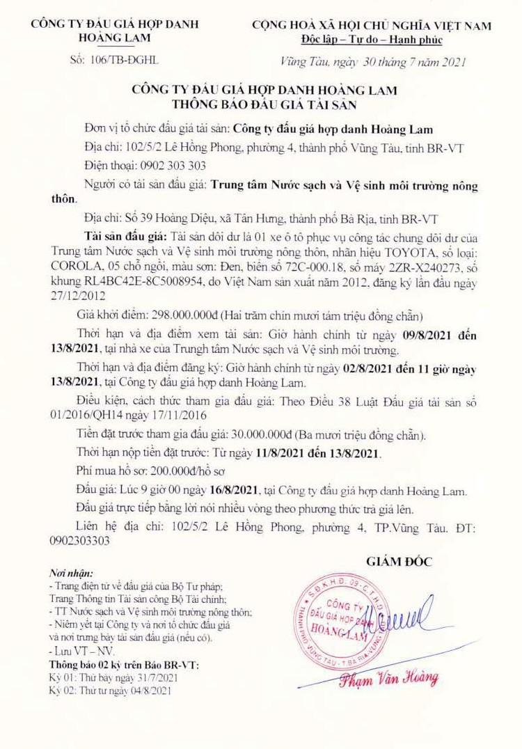 Ngày 16/8/2021, đấu giá xe ô tô TOYOTA tại tỉnh Bà Rịa - Vũng Tàu ảnh 2