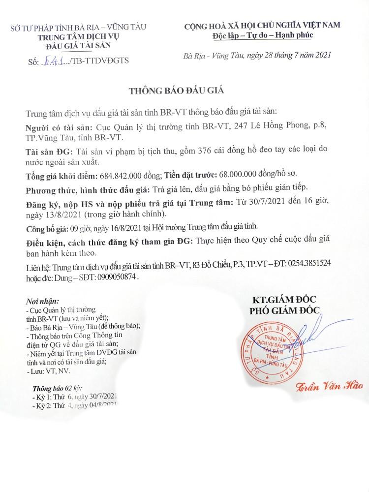 Ngày 16/8/2021, đấu giá đồng hồ đeo tay các loại tại tỉnh Bà Rịa – Vũng Tàu ảnh 3