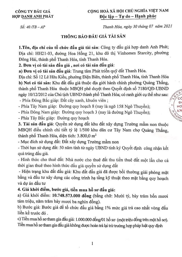 Ngày 23/8/2021, đấu giá quyền sử dụng đất tại thành phố Thanh Hóa, tỉnh Thanh Hóa ảnh 3