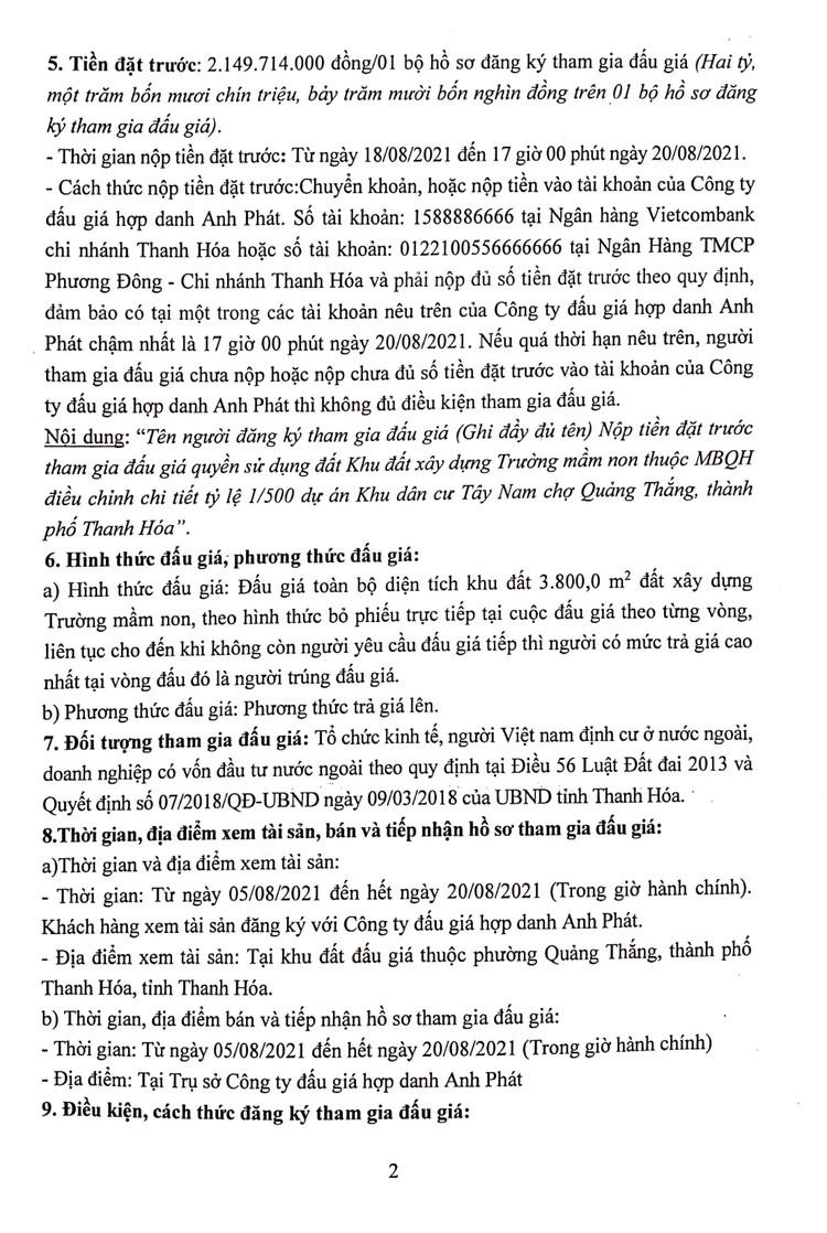 Ngày 23/8/2021, đấu giá quyền sử dụng đất tại thành phố Thanh Hóa, tỉnh Thanh Hóa ảnh 4