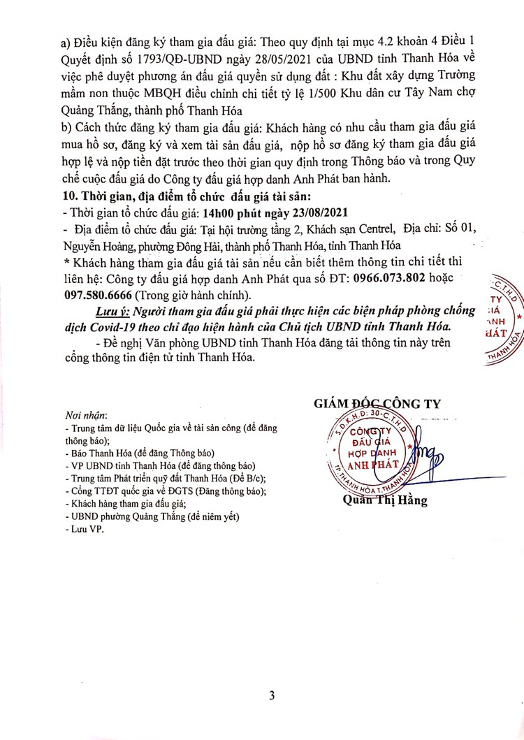 Ngày 23/8/2021, đấu giá quyền sử dụng đất tại thành phố Thanh Hóa, tỉnh Thanh Hóa ảnh 5