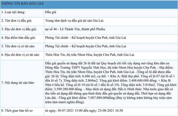Ngày 23/8/2021, đấu giá quyền sử dụng 26 lô đất tại huyện Chư Pưh, tỉnh Gia Lai ảnh 1