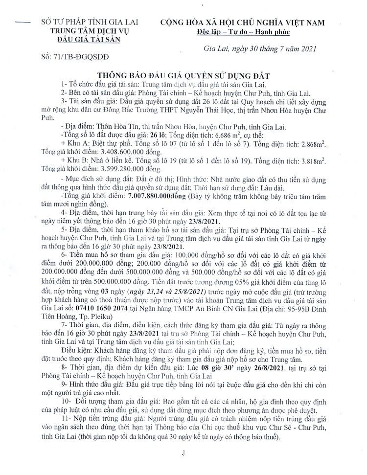 Ngày 23/8/2021, đấu giá quyền sử dụng 26 lô đất tại huyện Chư Pưh, tỉnh Gia Lai ảnh 3