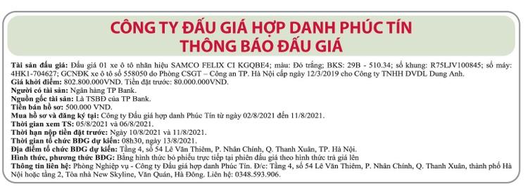 Ngày 13/8/2021, đấu giá xe ô tô Samco tại Hà Nội ảnh 1