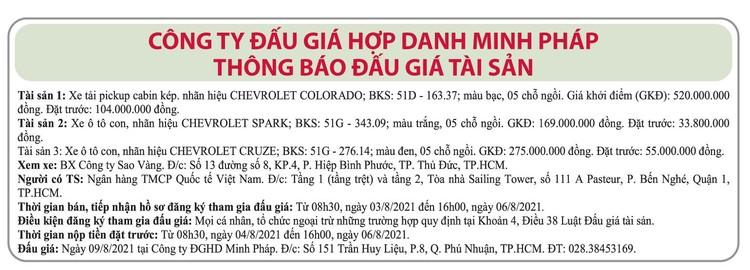 Ngày 9/8/2021, đấu giá 3 xe ô tô tại TP.HCM ảnh 1