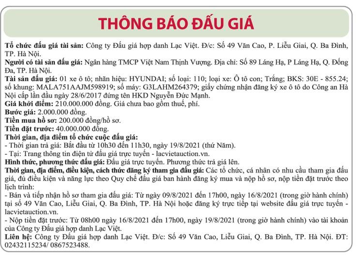Ngày 19/8/2021, đấu giá xe ô tô Huyndai tại Hà Nội ảnh 1