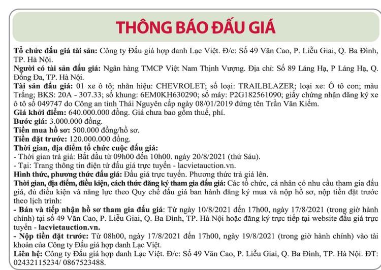 Ngày 20/8/2021, đấu giá xe ô tô Chevrolet tại Hà Nội ảnh 1