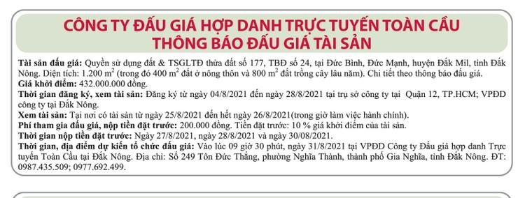 Ngày 31/8/2021, đấu giá quyền sử dụng đất tại huyện Đắk Mil, tỉnh Đắk Nông ảnh 1