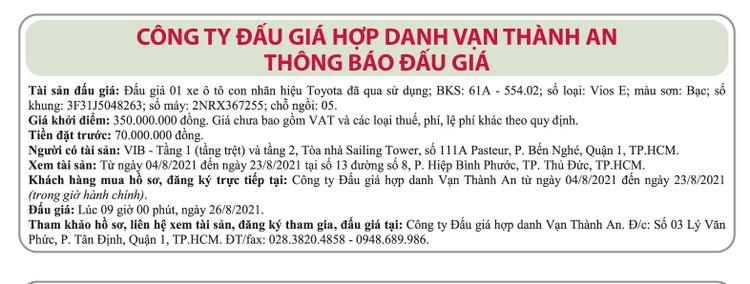 Ngày 26/8/2021, đấu giá xe ô tô Toyota tại TP.HCM ảnh 1