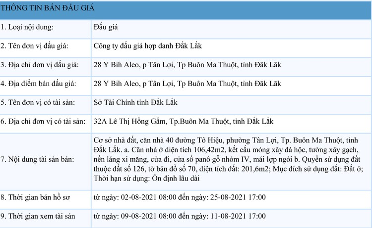 Ngày 27/8/2021, đấu giá quyền sử dụng đất tại TP. Buôn Ma Thuột, tỉnh Đắk Lắk ảnh 1