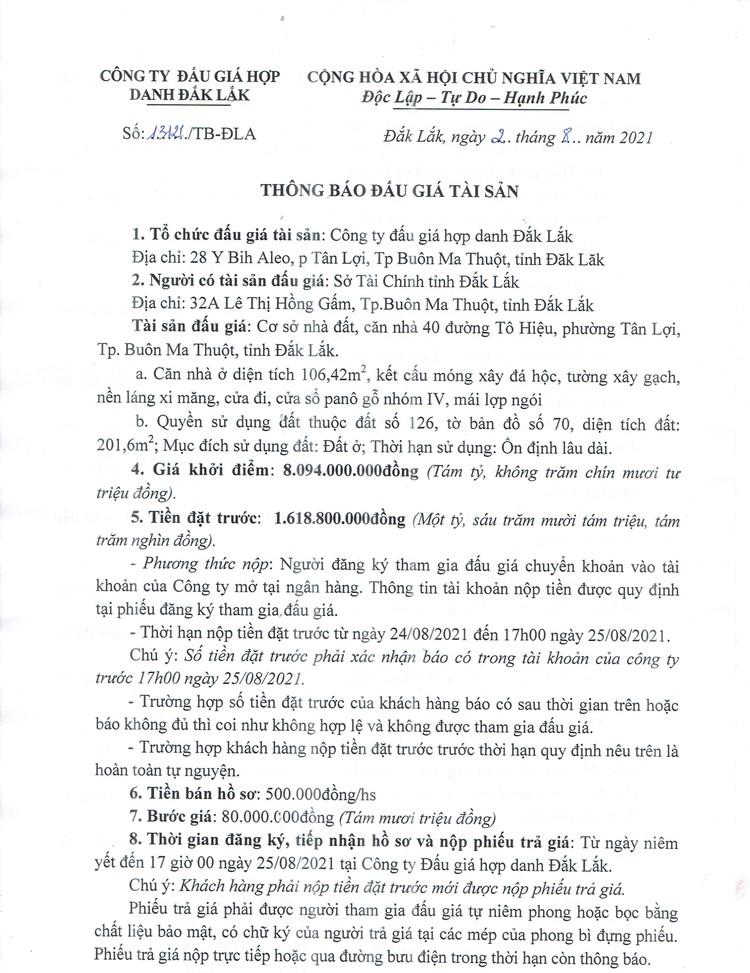Ngày 27/8/2021, đấu giá quyền sử dụng đất tại TP. Buôn Ma Thuột, tỉnh Đắk Lắk ảnh 3