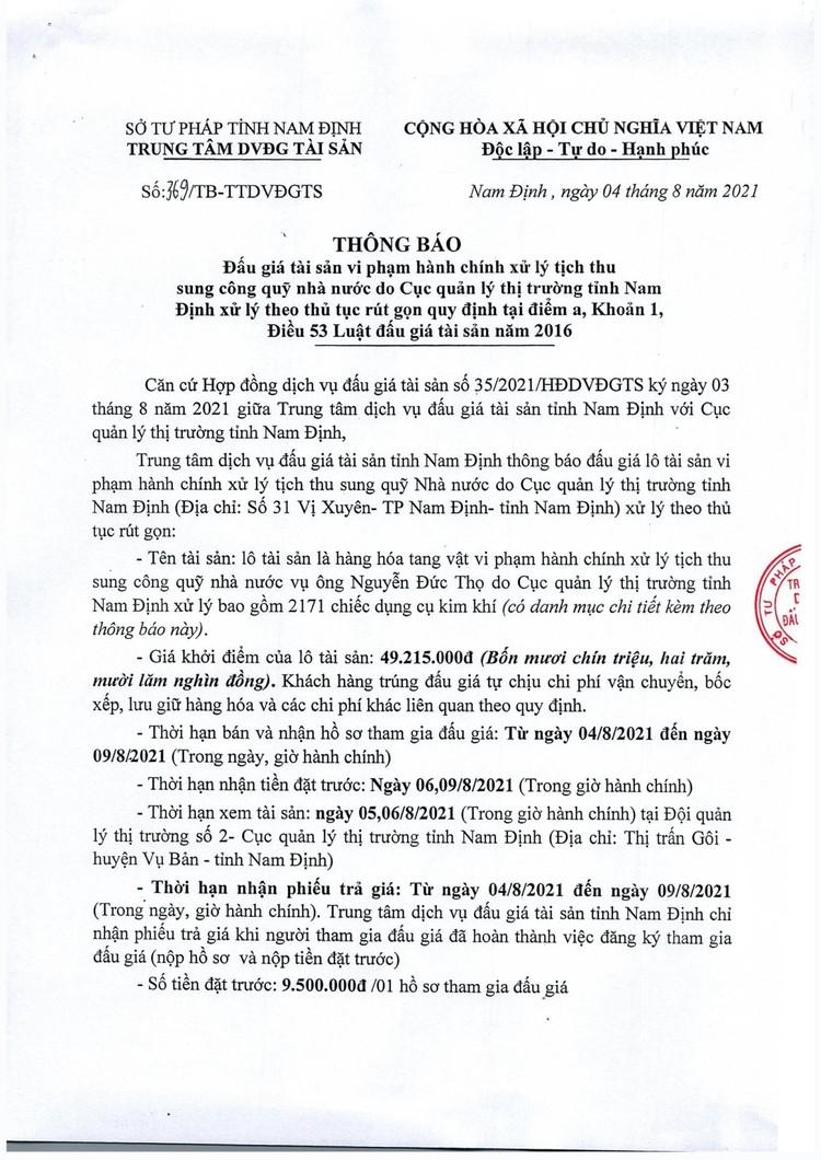 Ngày 11/8/2021, đấu giá hàng hóa tang vật vi phạm hành chính tại tỉnh Nam Định ảnh 2