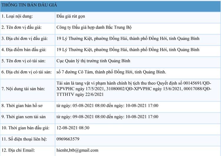 Ngày 12/8/2021, đấu giá tang vật vi phạm hành chính bị tịch thu tại tỉnh Quảng Bình ảnh 1