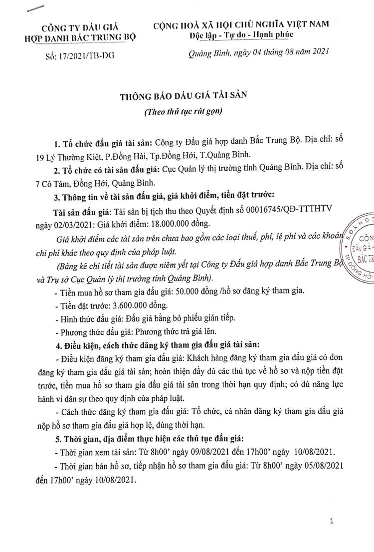 Ngày 12/8/2021, đấu giá tang vật vi phạm hành chính bị tịch thu tại tỉnh Quảng Bình ảnh 2