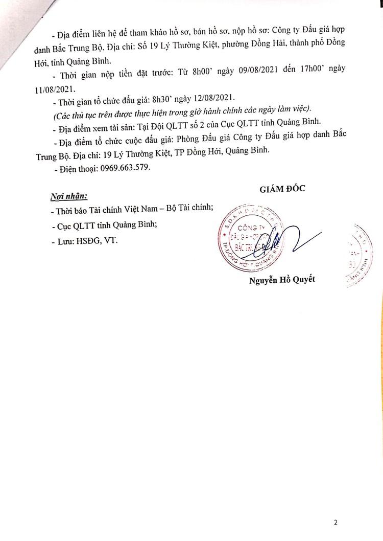 Ngày 12/8/2021, đấu giá tang vật vi phạm hành chính bị tịch thu tại tỉnh Quảng Bình ảnh 3