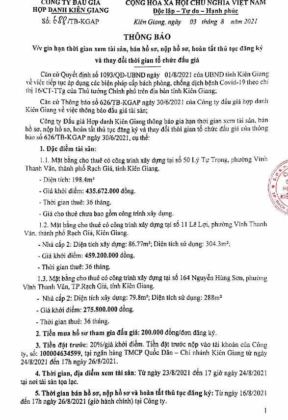 Ngày 31/8/2021, đấu giá quyền sử dụng đất tại TP.Rạch Giá, tỉnh Kiên Giang ảnh 2
