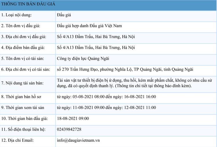Ngày 18/8/2021, đấu giá 2 lô vật tư thiết bị điện tại tỉnh Quảng Ngãi ảnh 1