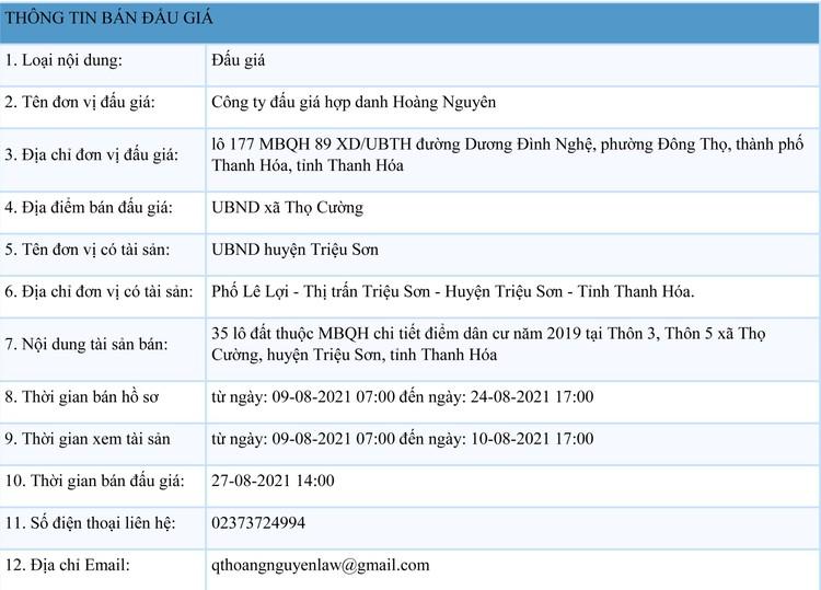 Ngày 27/8/2021, đấu giá quyền sử dụng 35 lô đất tại huyện Triệu Sơn, tỉnh Thanh Hóa ảnh 1