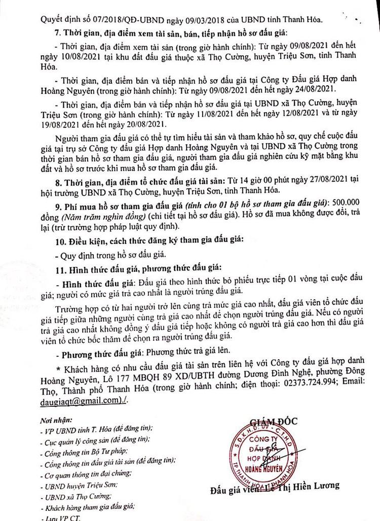 Ngày 27/8/2021, đấu giá quyền sử dụng 35 lô đất tại huyện Triệu Sơn, tỉnh Thanh Hóa ảnh 3