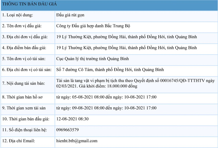 Ngày 12/8/2021, đấu giá tài sản bị tịch thu tại tỉnh Quảng Bình ảnh 1