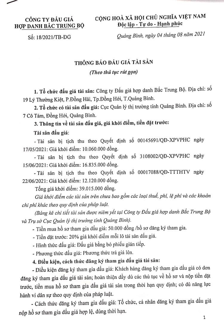 Ngày 12/8/2021, đấu giá tài sản bị tịch thu tại tỉnh Quảng Bình ảnh 2