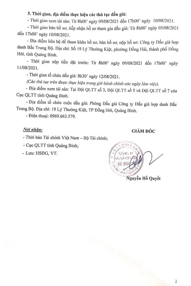 Ngày 12/8/2021, đấu giá tài sản bị tịch thu tại tỉnh Quảng Bình ảnh 3