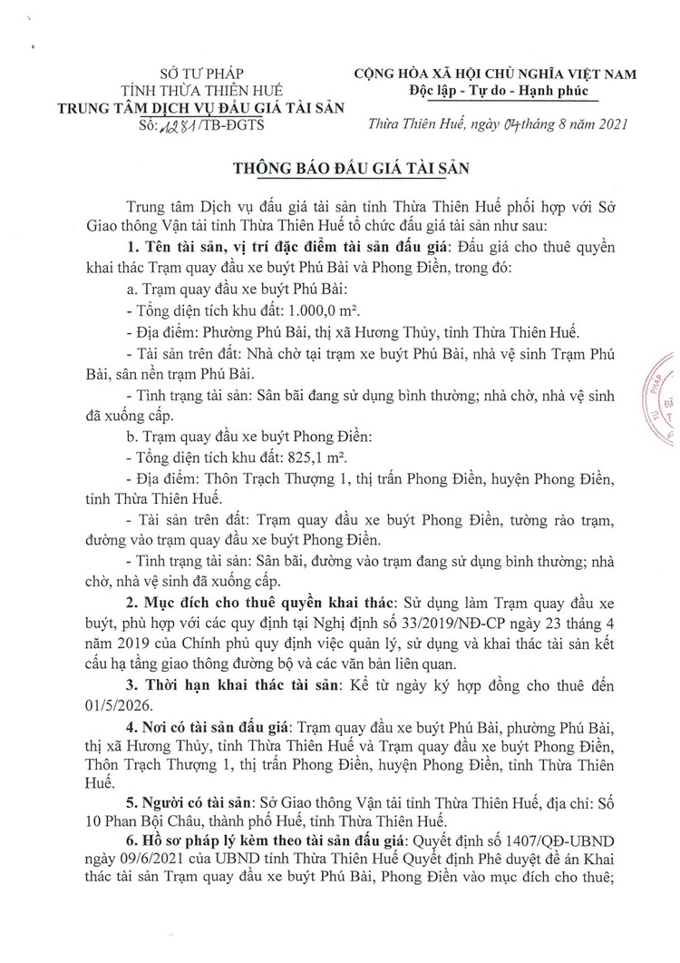 Ngày 26/8/2021, đấu giá quyền sử dụng đất tại thị xã Hương Thủy và huyện Phong Điền, tỉnh Thừa Thiên Huế ảnh 2