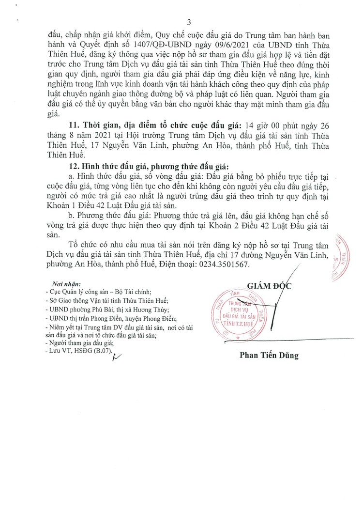 Ngày 26/8/2021, đấu giá quyền sử dụng đất tại thị xã Hương Thủy và huyện Phong Điền, tỉnh Thừa Thiên Huế ảnh 4