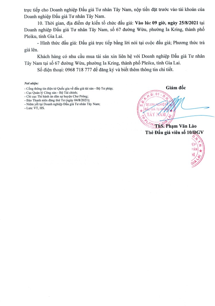 Ngày 25/8/2021, đấu giá quyền sử dụng đất tại huyện Chư Prông, tỉnh Gia Lai ảnh 3
