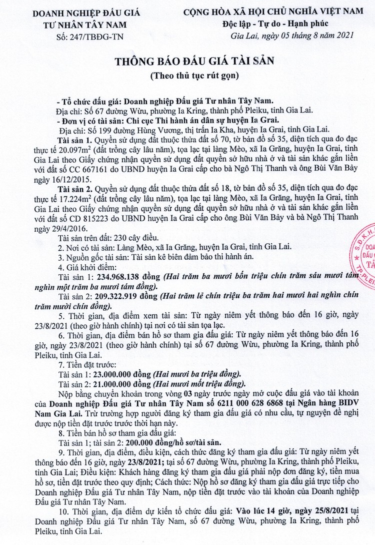 Ngày 25/8/2021, đấu giá quyền sử dụng đất tại huyện Ia Grai, tỉnh Gia Lai ảnh 2