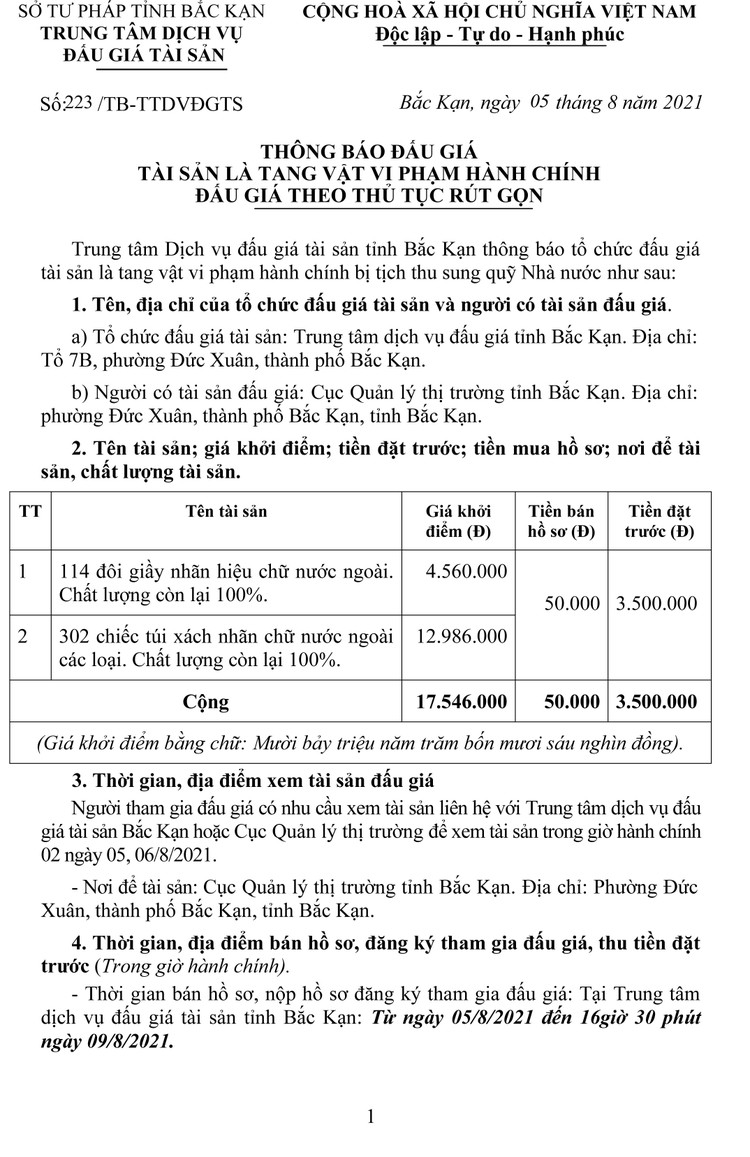 Ngày 11/8/2021, đấu giá 114 đôi giầy và 302 chiếc túi xách tại tỉnh Bắc Kạn ảnh 2