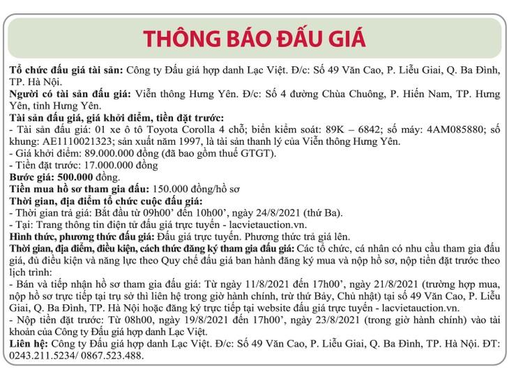 Ngày 24/8/2021, đấu giá xe ô tô Toyota tại tỉnh Hưng Yên ảnh 1