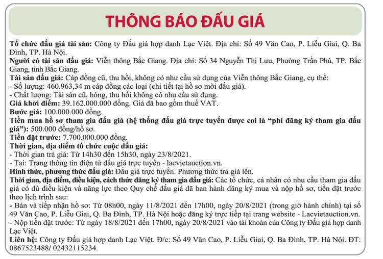 Ngày 23/8/2021, đấu giá cáp đồng thu hồi tại tỉnh Bắc Giang ảnh 1