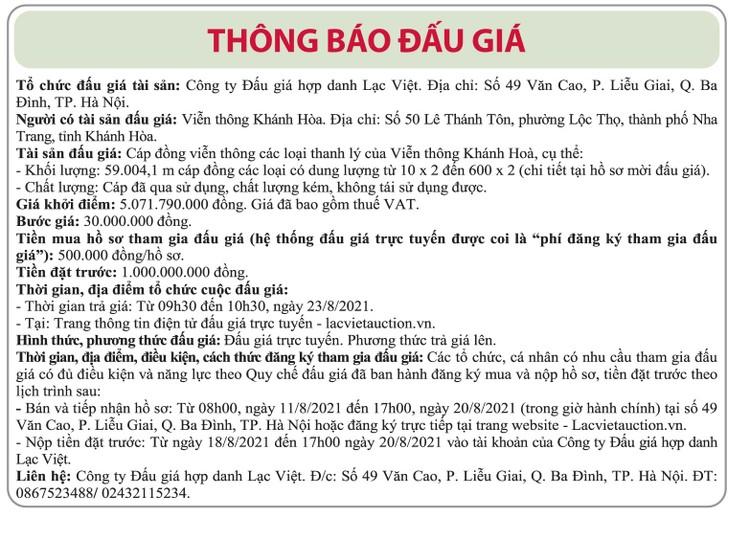 Ngày 23/8/2021, đấu giá cáp đồng thanh lý tại tỉnh Khánh Hòa ảnh 1